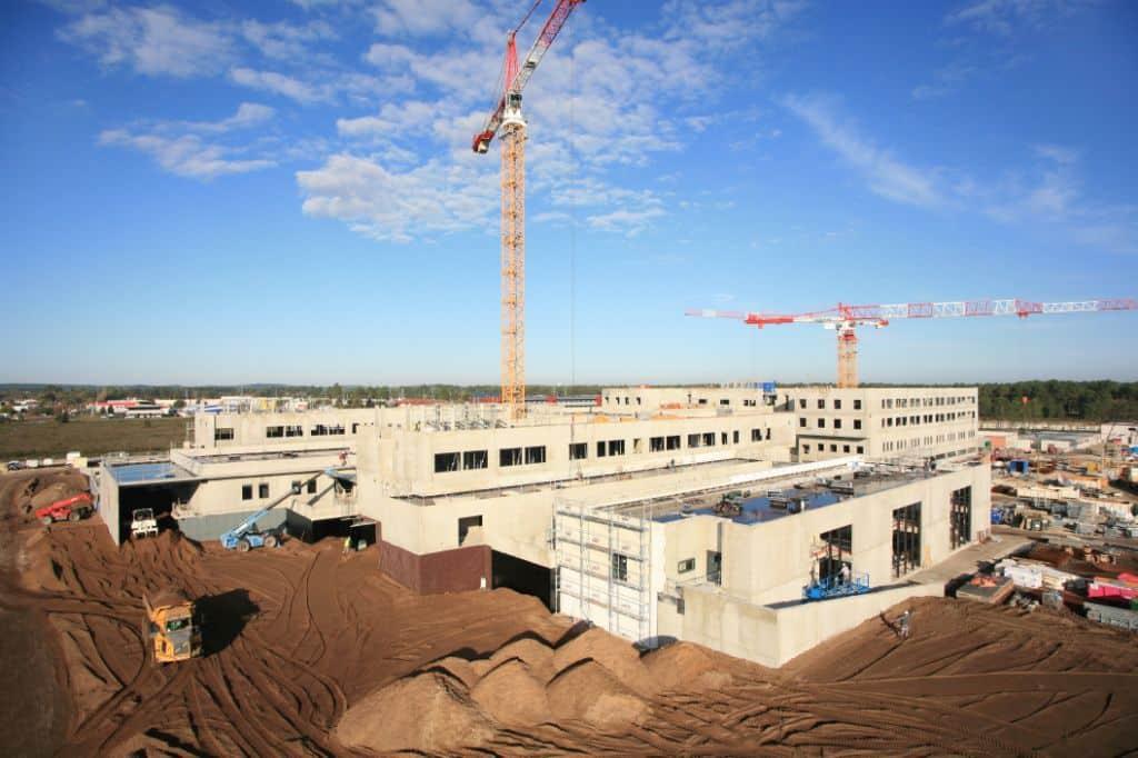 photo aérienne suivi de chantier hopital