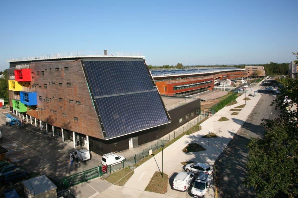 photo aérienne suivi de chantier lycée