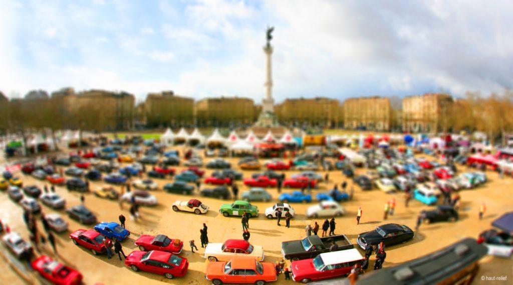 photographie Haut-Relief tiltshift évènement rassemblement véhicules